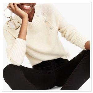 J. Crew Lambs Wool Blend Jeweled pullover Sweater
